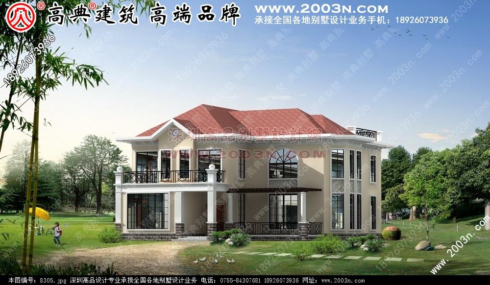 二层别墅外观效果图别墅设计图 别墅图片大全 农村房屋设计
